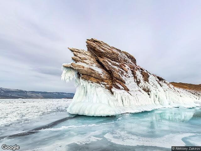 Ice icicles on the island of Ogoy in the Small Sea of Lake Baikal